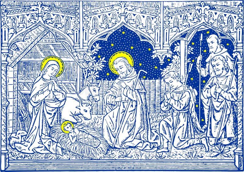 Noël - huche dans le bleu illustration libre de droits