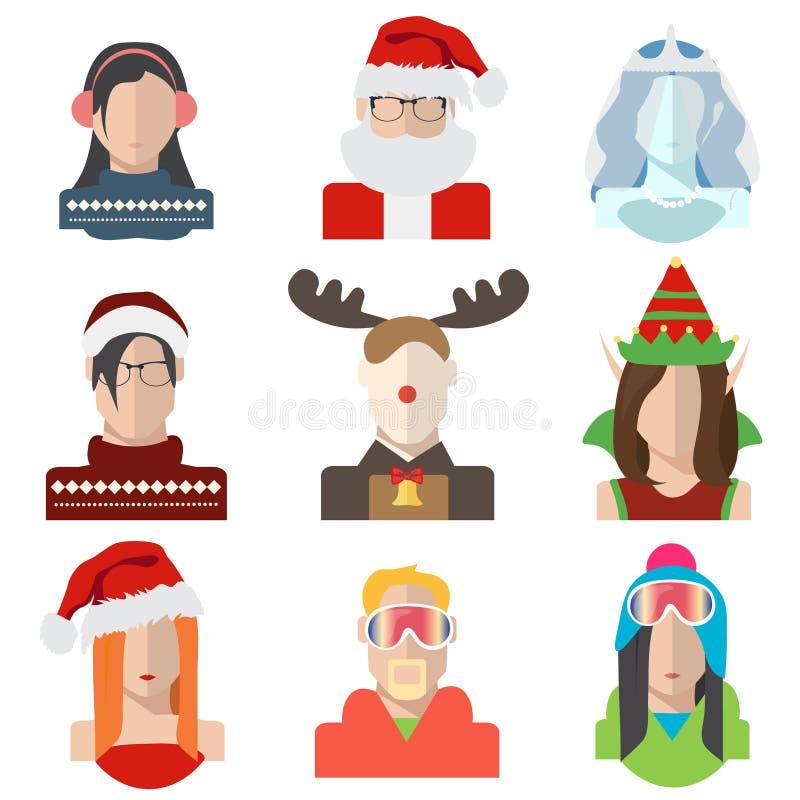 Noël, icônes d'avatar d'hiver dans le style plat illustration libre de droits