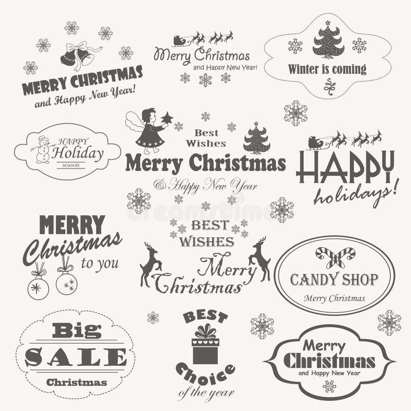 Noël a isolé la collection de symboles de conception, d'éléments et d'inscriptions calligraphiques et typographiques illustration stock