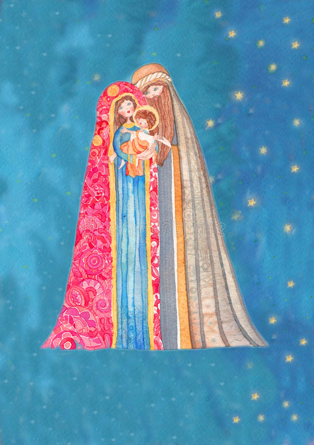 Noël : Jesus Christ, Joseph, Mary illustration stock