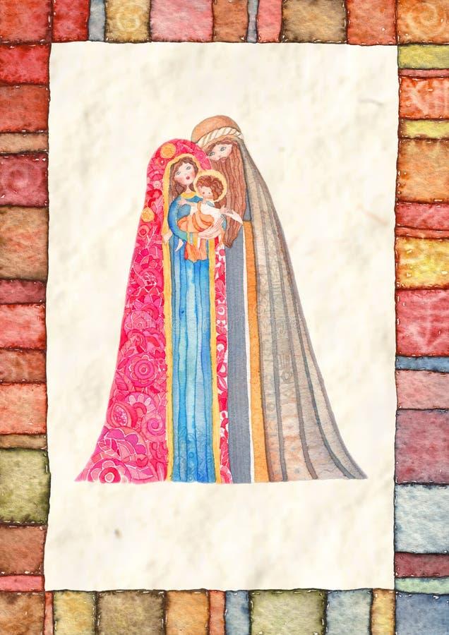 Noël : Jesus Christ, Joseph, Mary illustration de vecteur
