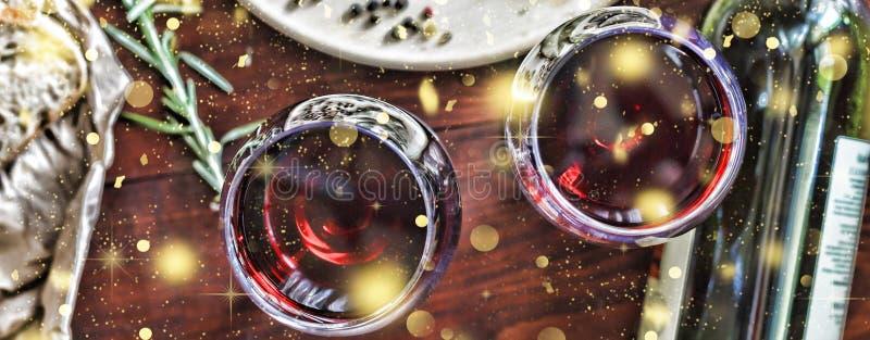 Noël, jour de thanksgiving, vin, ciabatta, romarin, épices fa images libres de droits