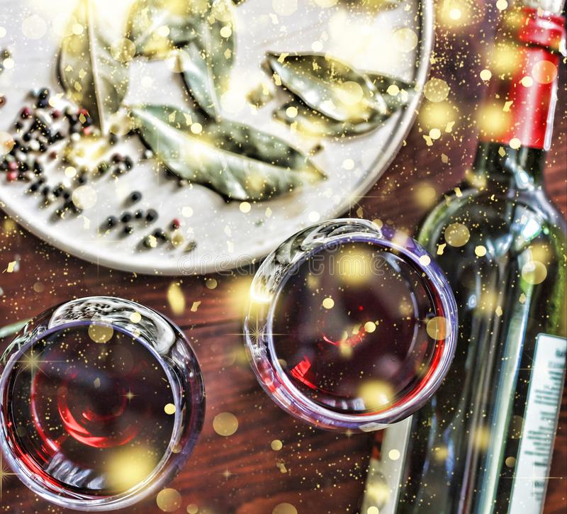Noël, jour de thanksgiving, vin, ciabatta, romarin, épices fa image libre de droits