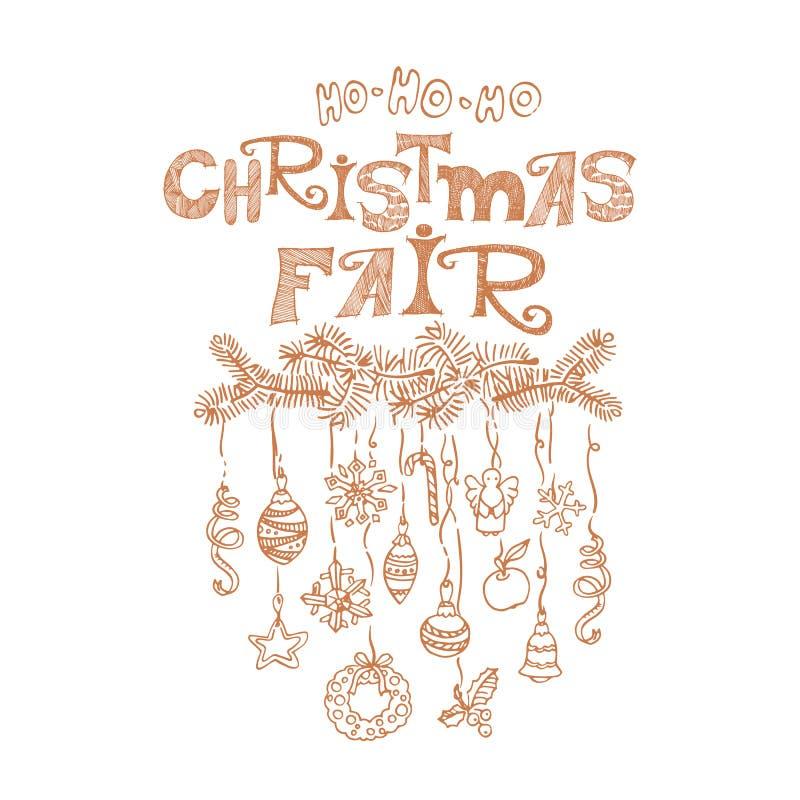 Noël juste, affiche d'annonce du marché illustration de vecteur