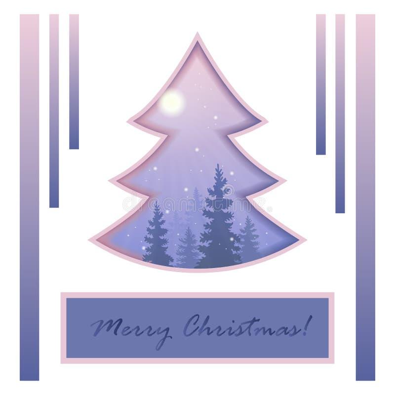 Noël ma version de vecteur d'arbre de portefeuille Hiver dans la tempête de neige de forêt foi illustration stock
