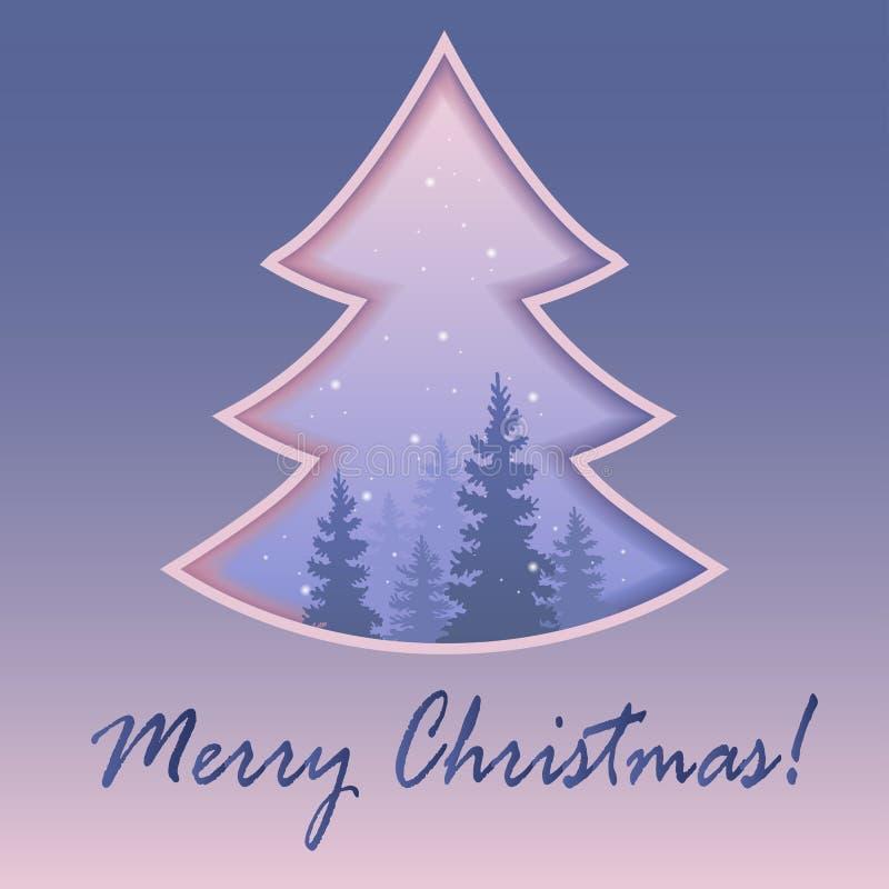 Noël ma version de vecteur d'arbre de portefeuille Hiver dans la tempête de neige de forêt foi Vecteur illustration de vecteur