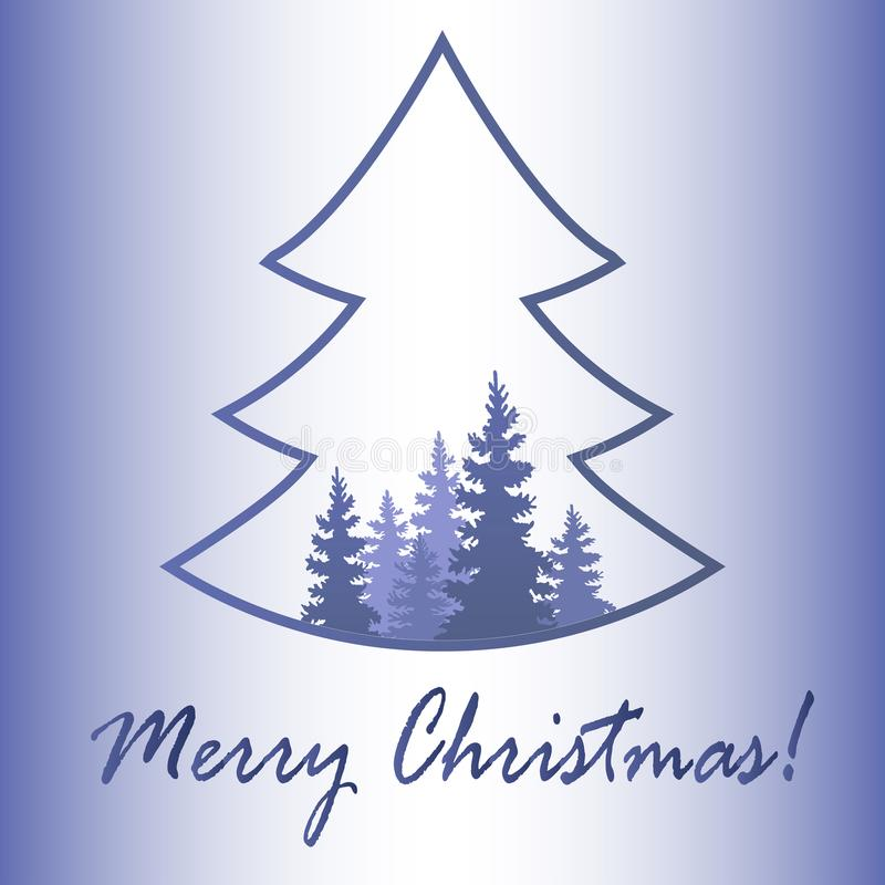 Noël ma version de vecteur d'arbre de portefeuille Hiver dans la tempête de neige de forêt foi Vecteur i illustration libre de droits