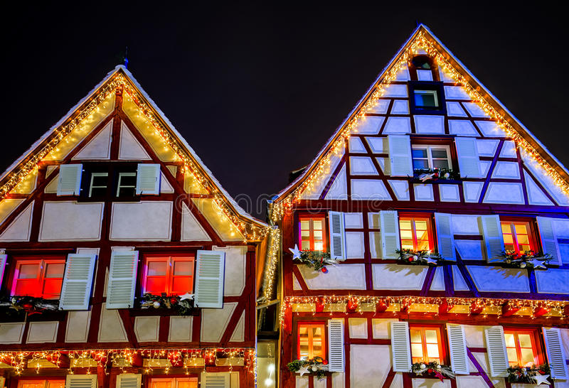 Noël merveilleux accentuant à Colmar, Alsace, France photographie stock libre de droits
