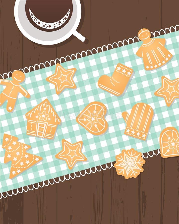Noël, nouvelle année, modèle sans couture de biscuit de gingembre de vacances d'hiver illustration libre de droits