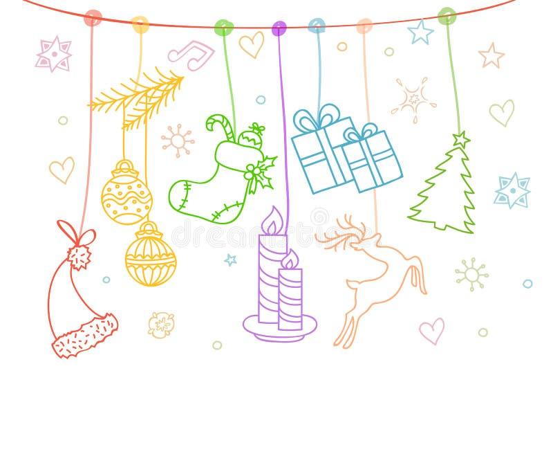 Noël objecte la carte illustration de vecteur