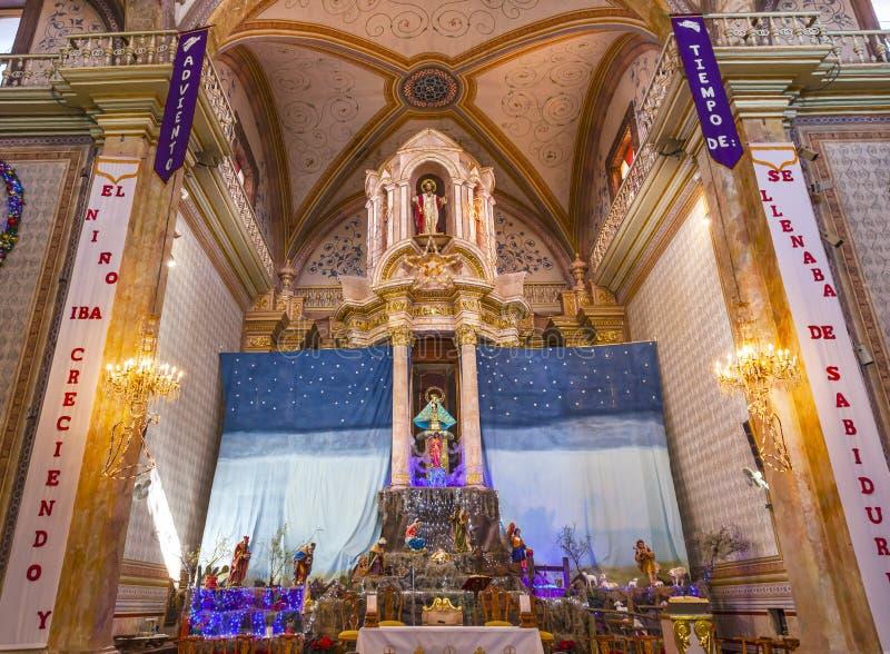 Noël Parroquia Dolores Hidalalgo Mexico de garderie d'autel photographie stock libre de droits