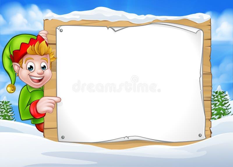 Noël Pixie Elf Sign de scène d'hiver illustration stock