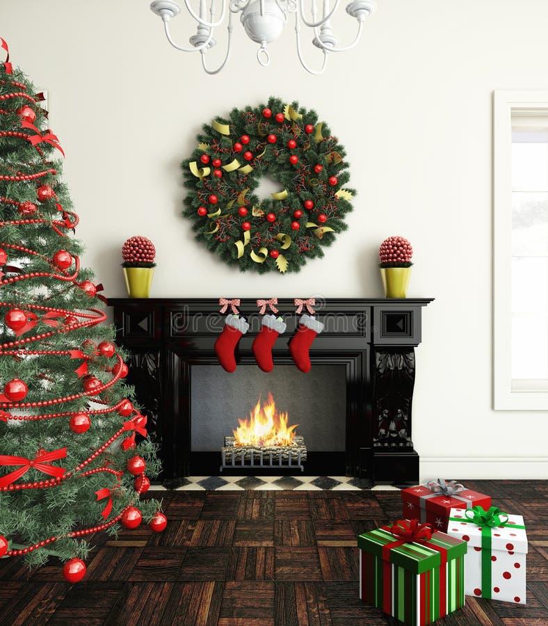 Noël près de cheminée illustration libre de droits