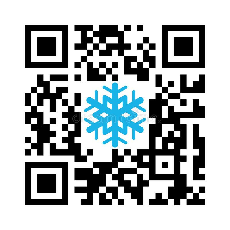 Noël QR de code lisible de Smartphone Joyeux avec l'icône de flocon de neige illustration de vecteur