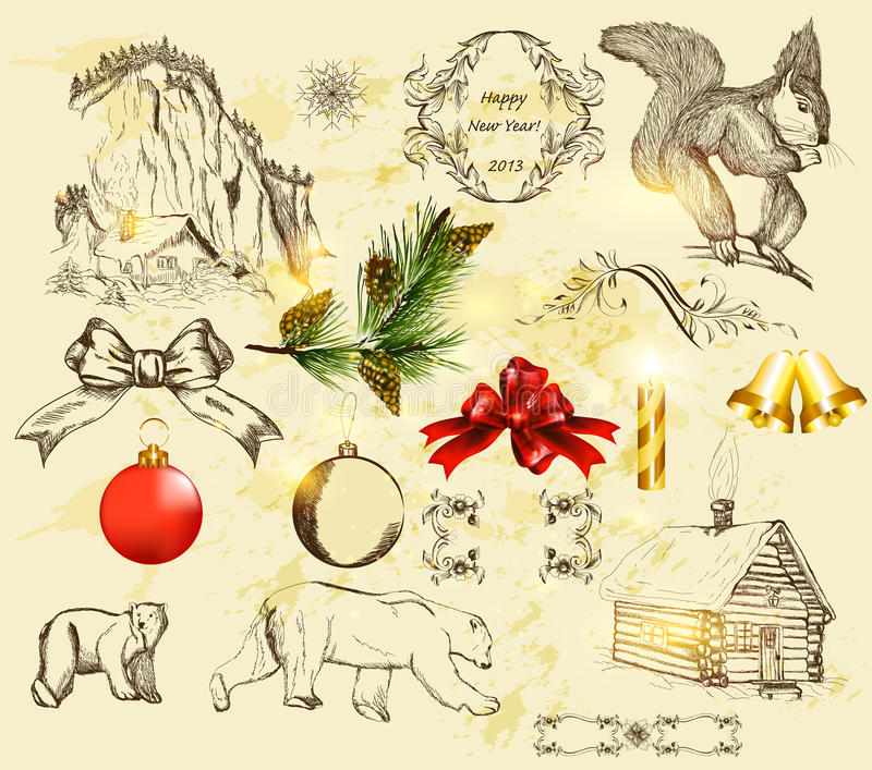 Noël réglé avec les objets tirés par la main illustration stock
