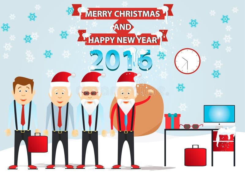 Noël réglé - le père noël Vecteur le père noël Bureau Santa Horaire d'hiver images libres de droits