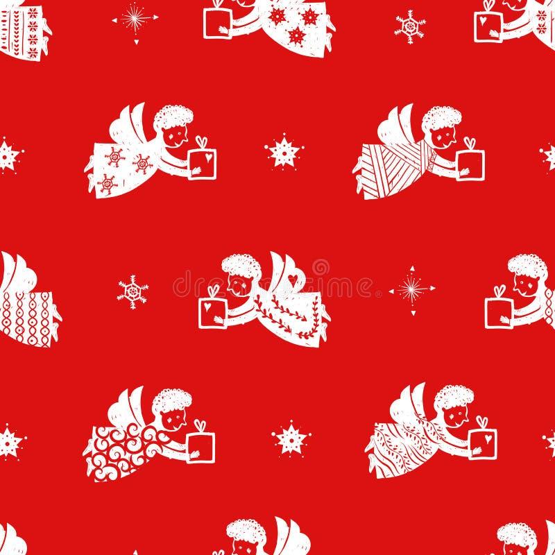 Noël réglé - silhouettes tirées par la main d'anges avec les modèles simples Décoration pour l'arbre de Noël Illustration de vect illustration de vecteur