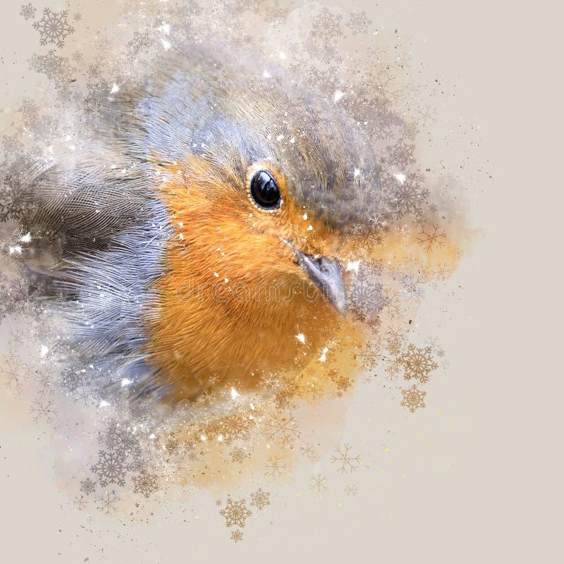 Noël Robin, aquarelle de Digital et photographie photographie stock