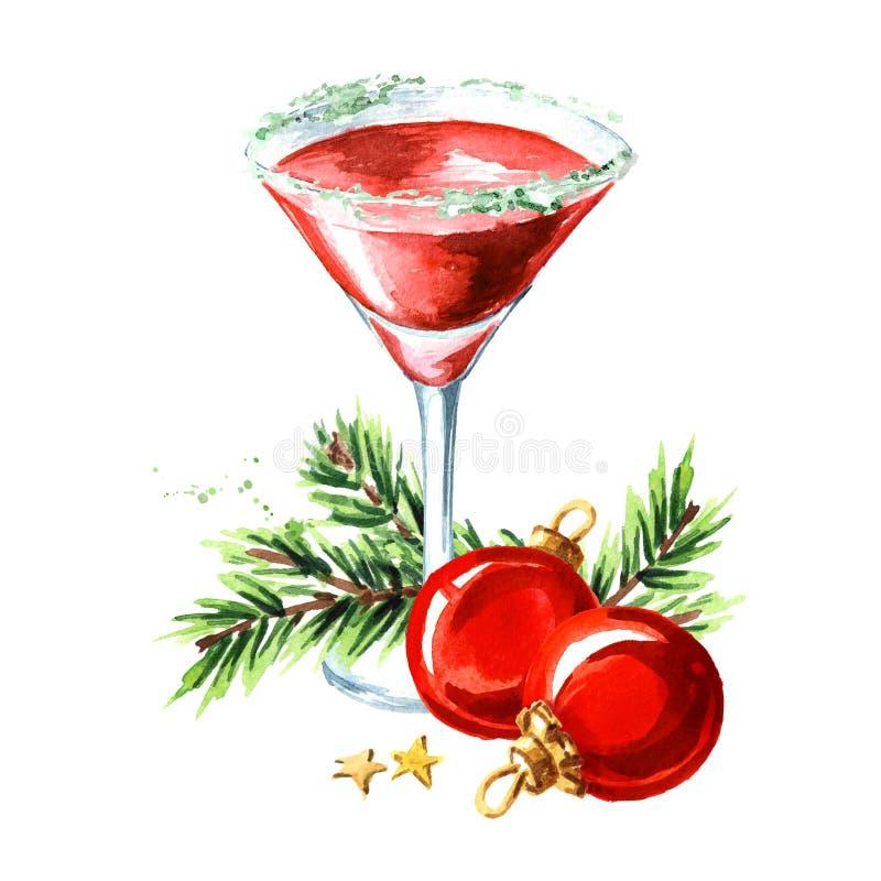 Noël rouge martini avec les boules de Noël et la branche de sapin Illustration tirée par la main d'aquarelle, d'isolement sur le  illustration stock