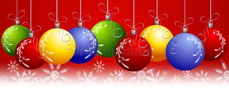 Noël rouge ornemente le cadre illustration stock