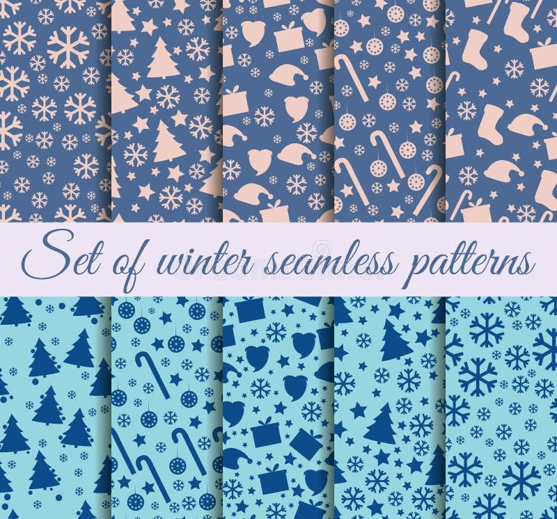 Noël sans couture de modèles Tendances de couleur d'hiver : Rive, Pale Dogwood, île Paradis illustration de vecteur