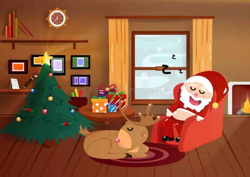 Noël, Santa Claus dormant avec le renne dans la maison, inte plat illustration stock