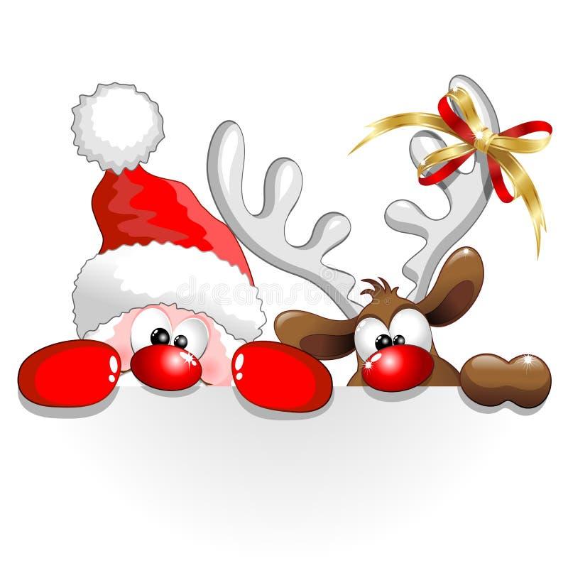 Noël Santa et bande dessinée d'amusement de renne illustration de vecteur