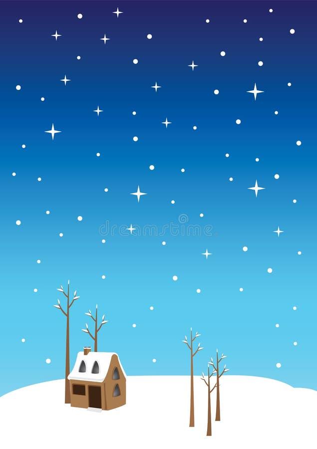 Noël silencieux Eve Vector Illustration de nuit illustration libre de droits