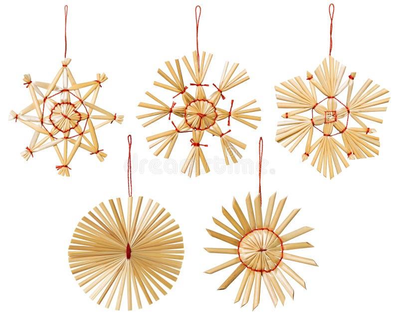 Noël Straw Snowflakes Decoration, flocons d'isolement de neige photo libre de droits