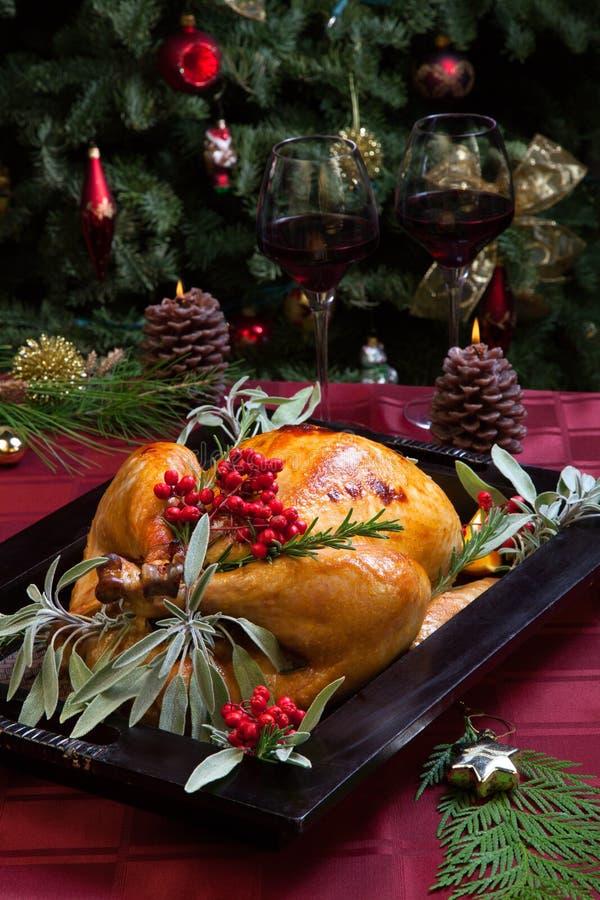 Noël Turquie dans le plateau en bois photos libres de droits