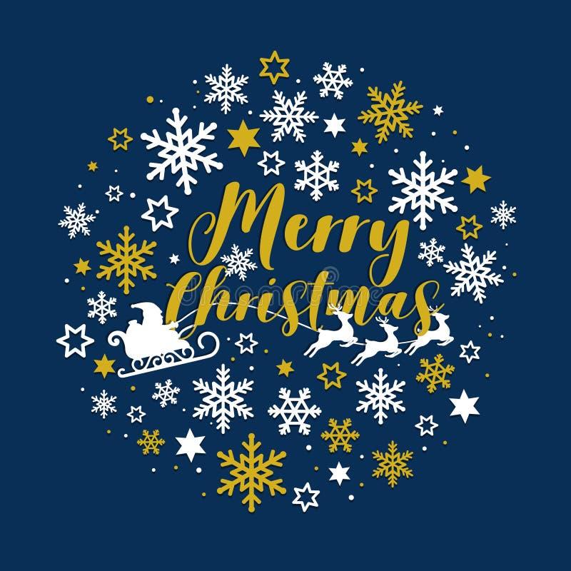 Noël typographique sur le fond foncé de Noël de marine avec le père noël et traîneau et flocons de neige de renne Carte de Joyeux illustration libre de droits