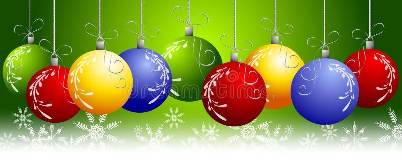 Noël vert ornemente le cadre illustration de vecteur