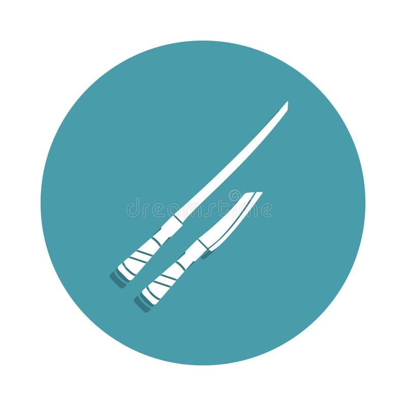 noże dla tnącej ikony w odznaka stylu Jeden kuchni narzędzia inkasowa ikona może używać dla UI, UX ilustracja wektor