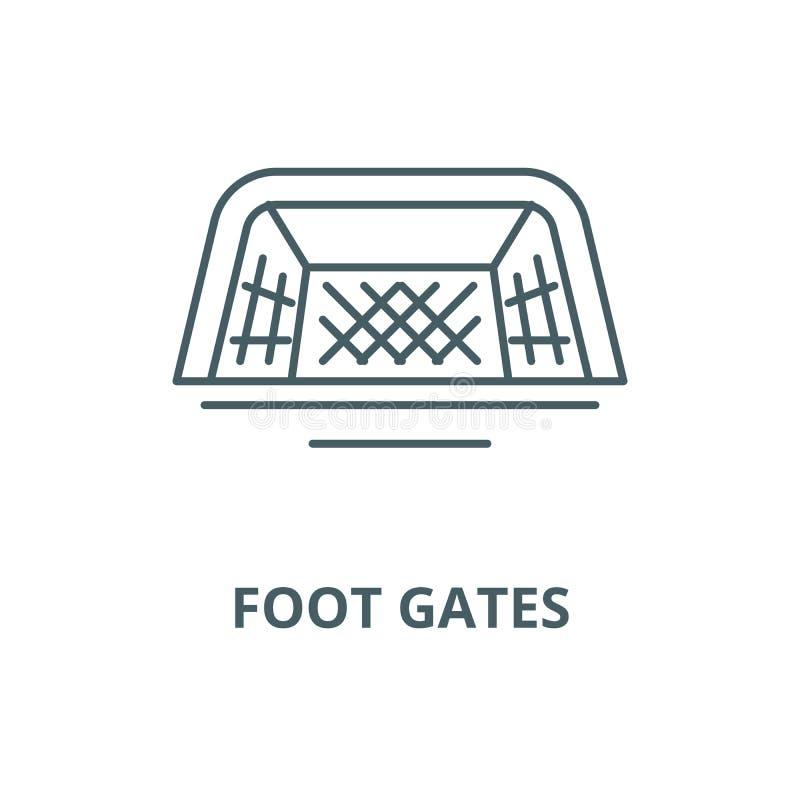 Nożna brama wektoru linii ikona, liniowy pojęcie, konturu znak, symbol royalty ilustracja