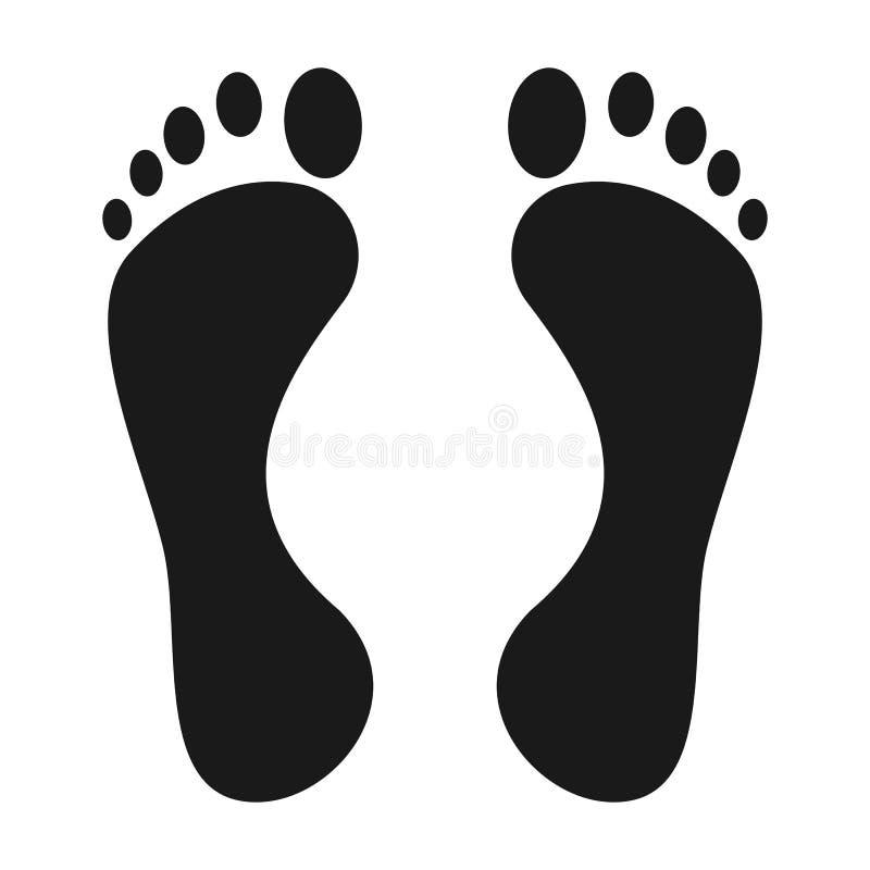Nożna druk ikona Nagiej stopy druku czerń na białym cieki ikony wektorze royalty ilustracja