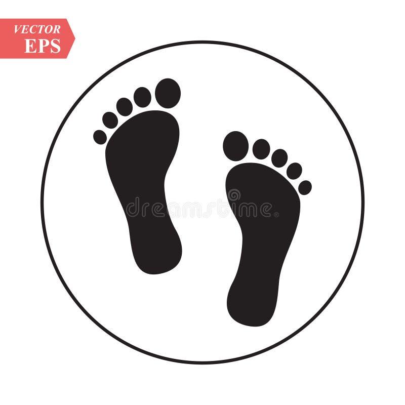 Nożna druk ikona Nagiej stopy druku czerń na białym cieki ikony wektorze, akcyjny wektorowy ilustracyjny płaski projekta styl ilustracja wektor