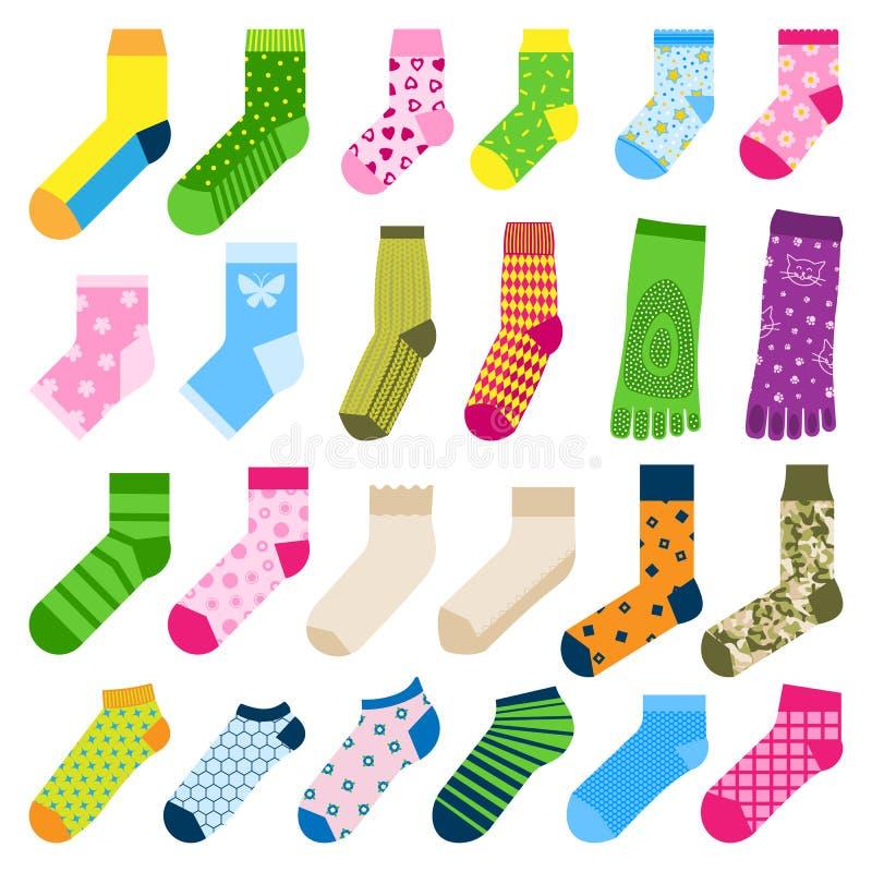 Nożnego palec u nogi skarpet mody odzieżowego akcesoryjnego projekta bawełnianej tkaniny wektorowa ilustracyjna różnorodna ciepła ilustracji