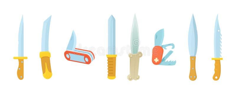 Nożowy ikona set, kreskówka styl royalty ilustracja