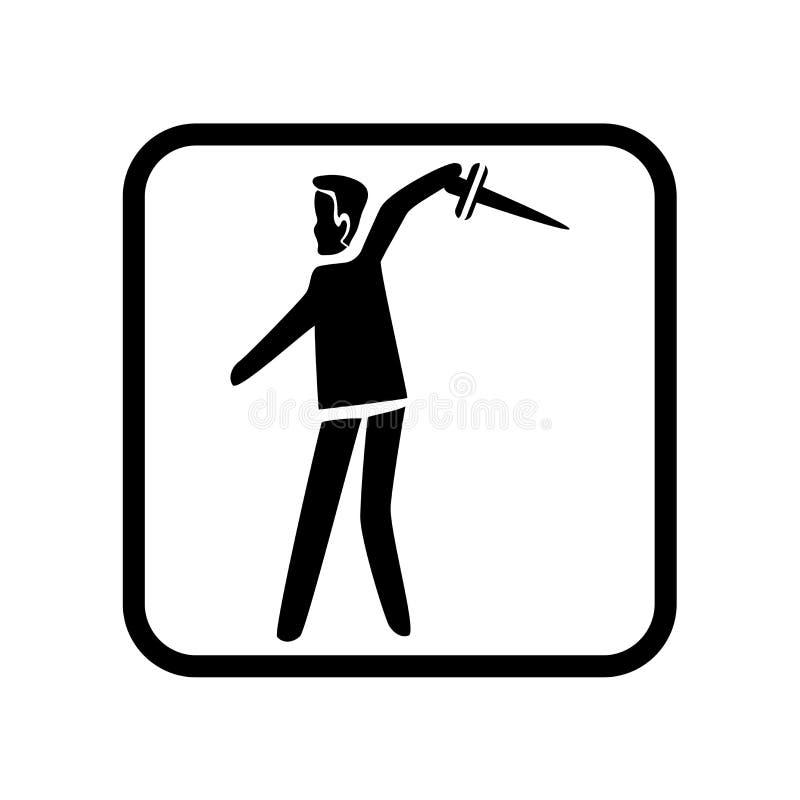 Nożowy miotanie ikony wektor odizolowywający na białym tle, Nożowy miotanie znak, wakacyjne ilustracje ilustracja wektor