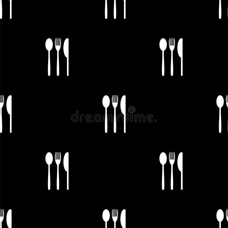 Nożowych rozwidlenie Łyżkowych sylwetek Bezszwowy wzór ilustracja wektor