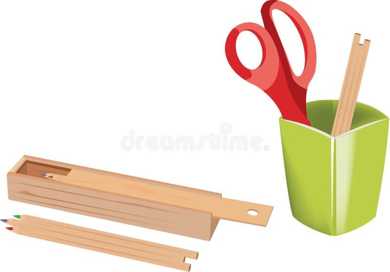 Nożyce barwiący ołówki i zielony pióro właściciel ilustracja wektor
