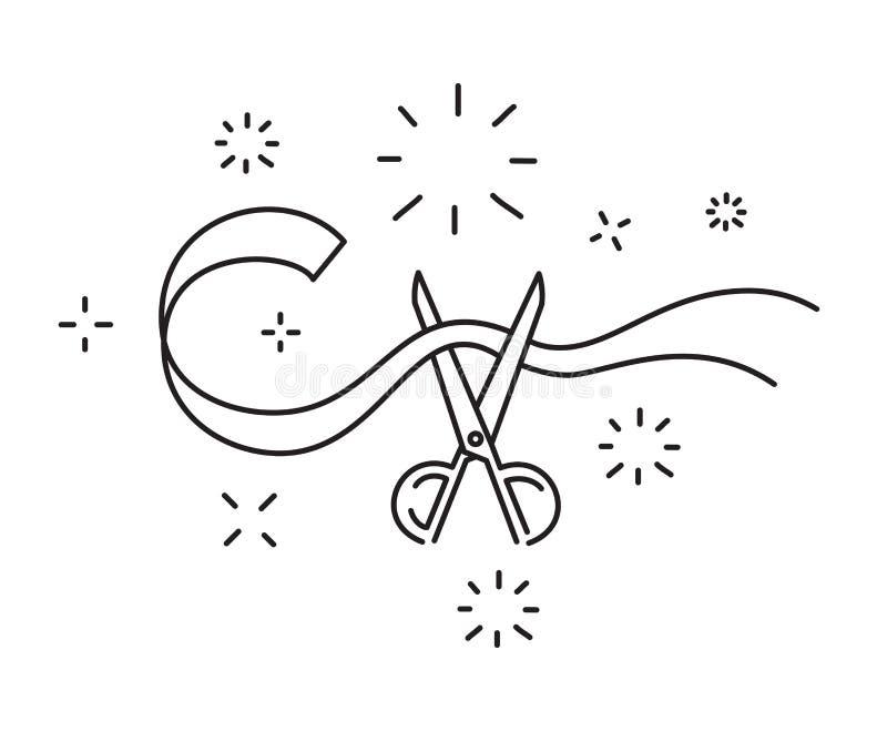 Nożyce cią faborek linii ikony ceremonii otwarcia symbolu wektoru ilustrację ilustracja wektor