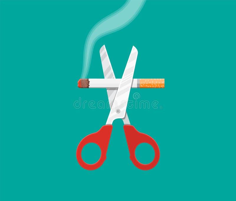 Nożyce cią papierosy ilustracja wektor