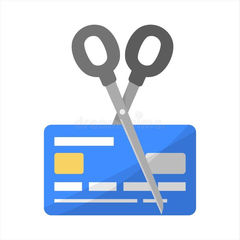 Nożyce cią plastikową kartę kredytową Pomysł finanse i bogactwo royalty ilustracja