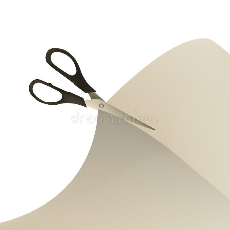 Nożyce ciący papier ilustracja wektor