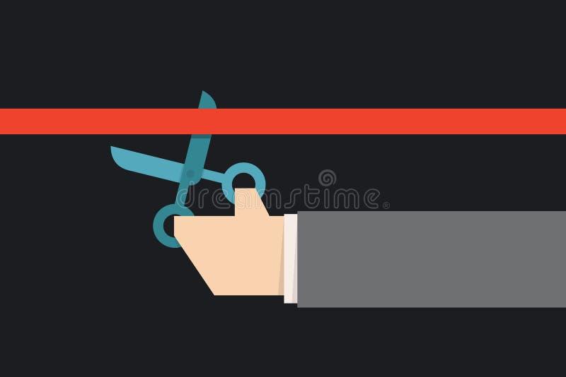 Nożyce ciie czerwonego faborek ilustracja wektor