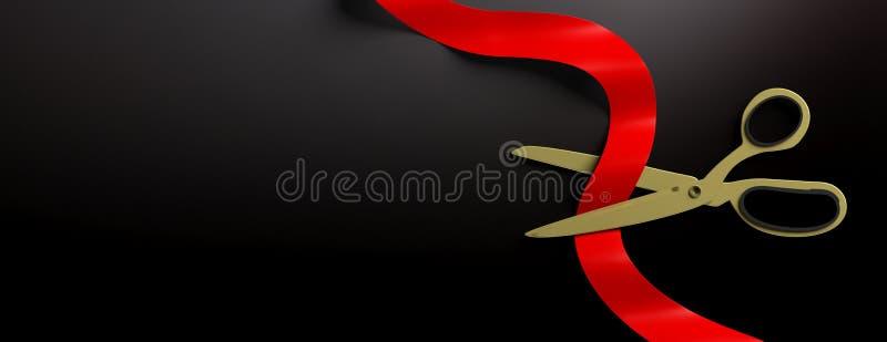 Nożyce ciie czerwonego jedwabniczego faborek przeciw czarnemu tłu, sztandar ilustracja 3 d ilustracja wektor