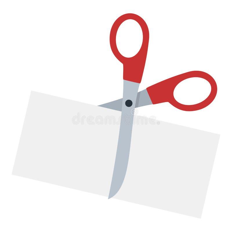 Nożyce Ciie Papierową Płaską ikonę na bielu ilustracji