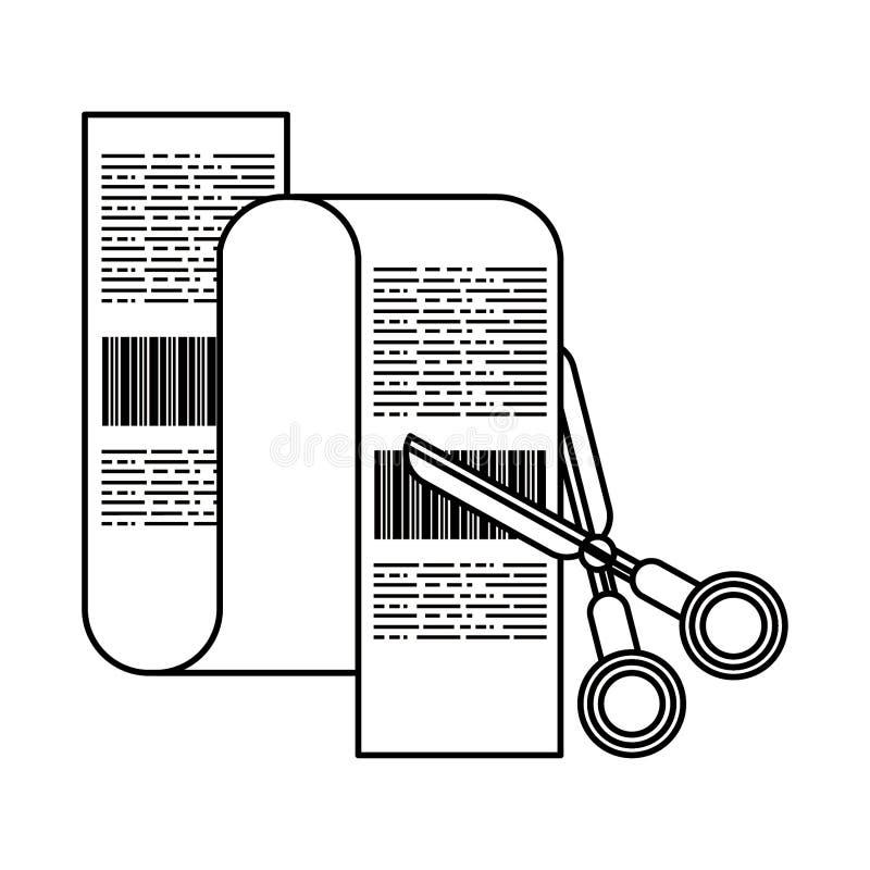 Nożyce ciie zakupy rachunku symbole w czarny i biały ilustracji