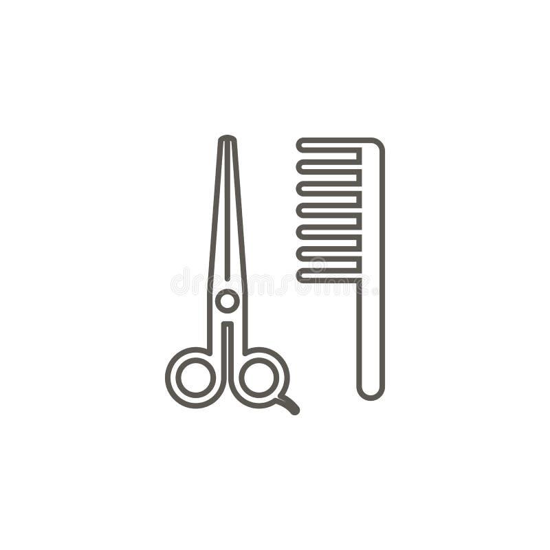 Nożyce, grępla, fryzjera męskiego wektoru ikona Prosta element ilustracja od mapy i nawigacji poj?cia Nożyce, grępla, fryzjera mę royalty ilustracja